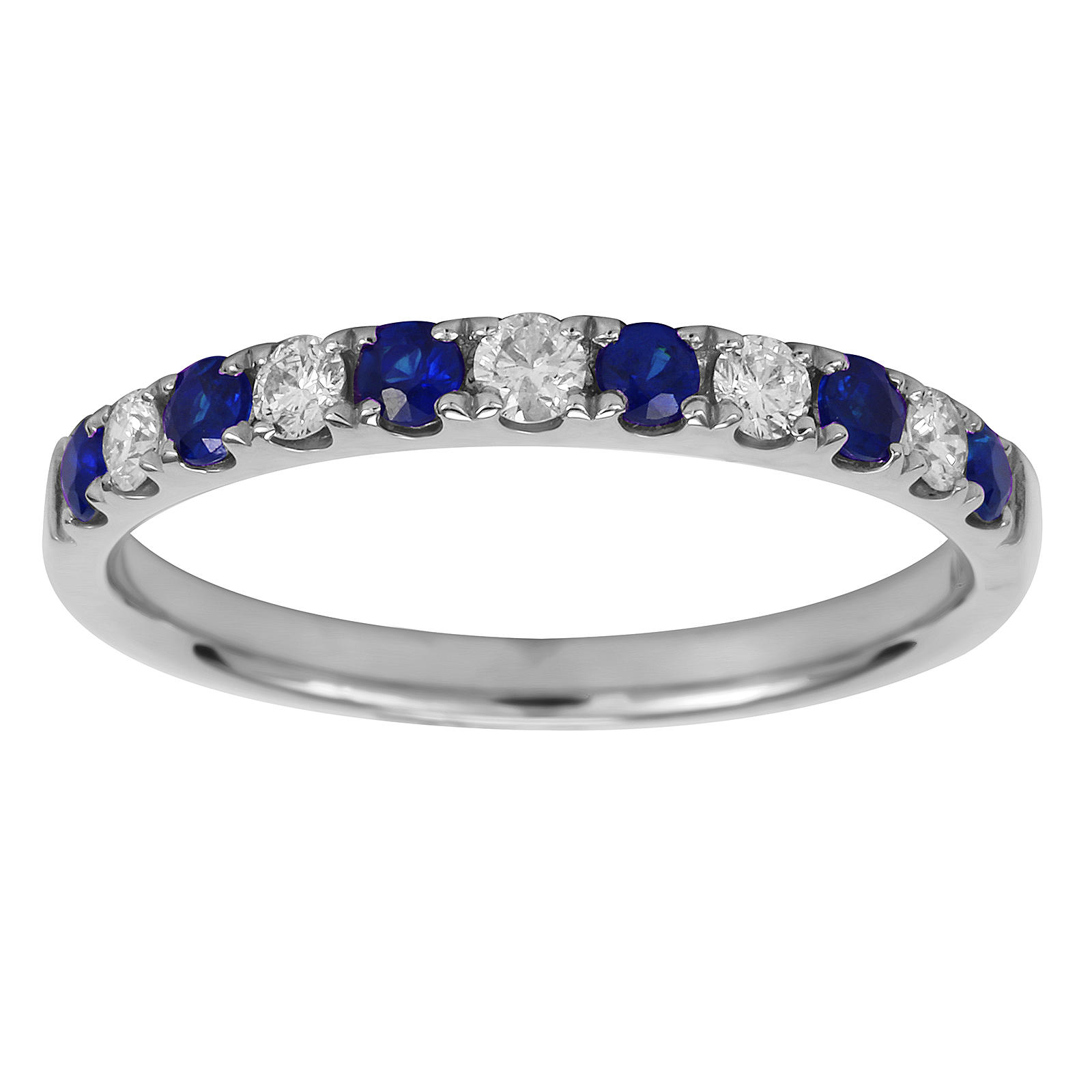 18ct White Gold 0.20ct Diamond & Sapphire Eternity Rings - Ring Size J