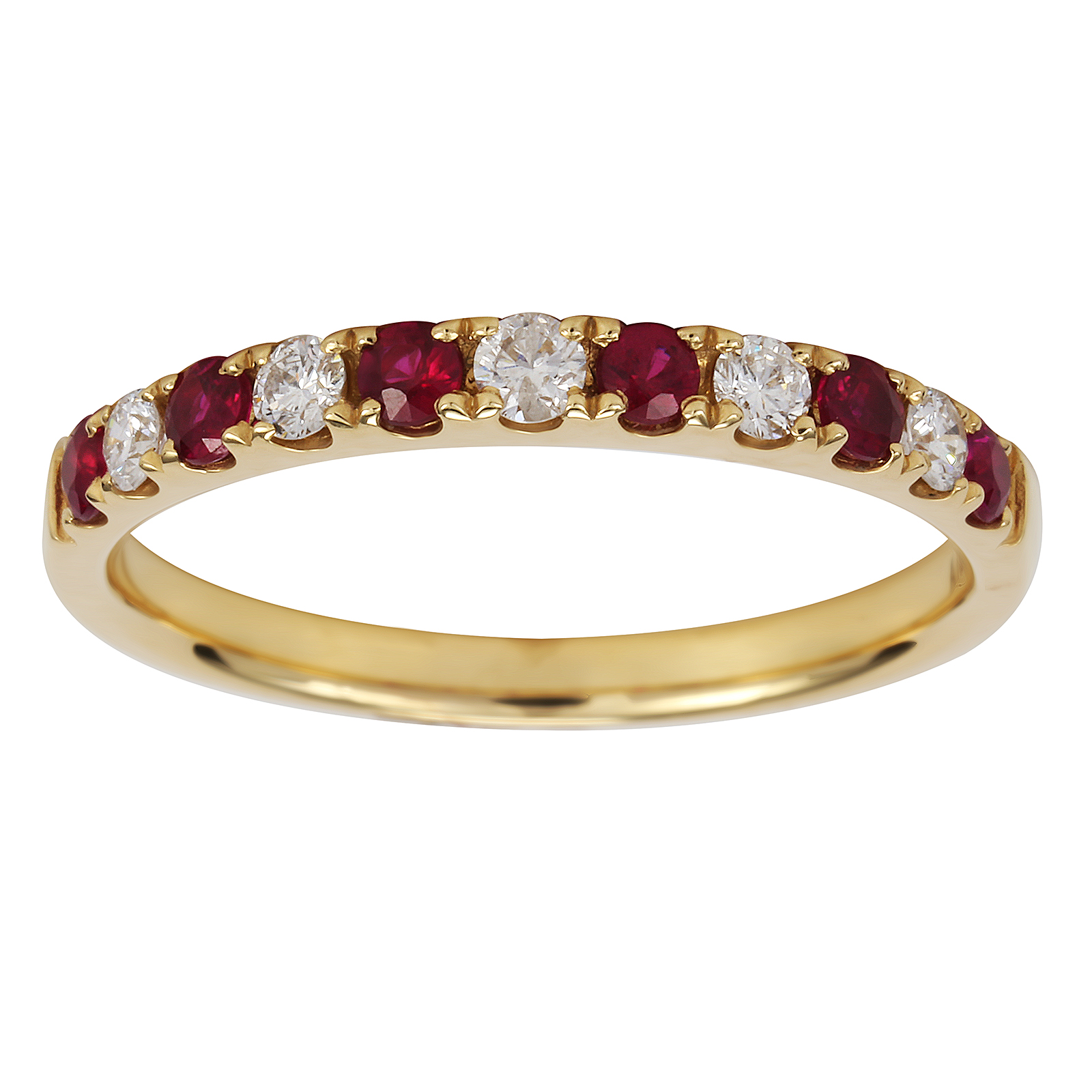 18ct Yellow Gold 0 20ct Diamond Amp Ruby Eternity Rings