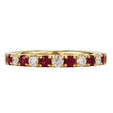 18ct Yellow Gold 0.20ct Diamond & Ruby Eternity Rings