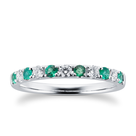 18ct White Gold 0.20ct Diamond & Emerald Eternity Rings