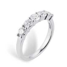 Platinum 1.00ct Brilliant Cut 88 Facet Diamond 5 Stone Claw Set Ring