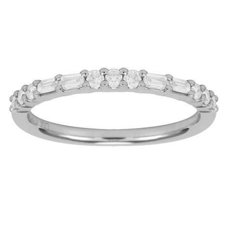 18ct White Gold 0.37ct Baguette & Round Eternity Rings