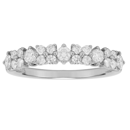 9ct White Gold 0.75ct Diamond Flower Fancy Eternity Ring