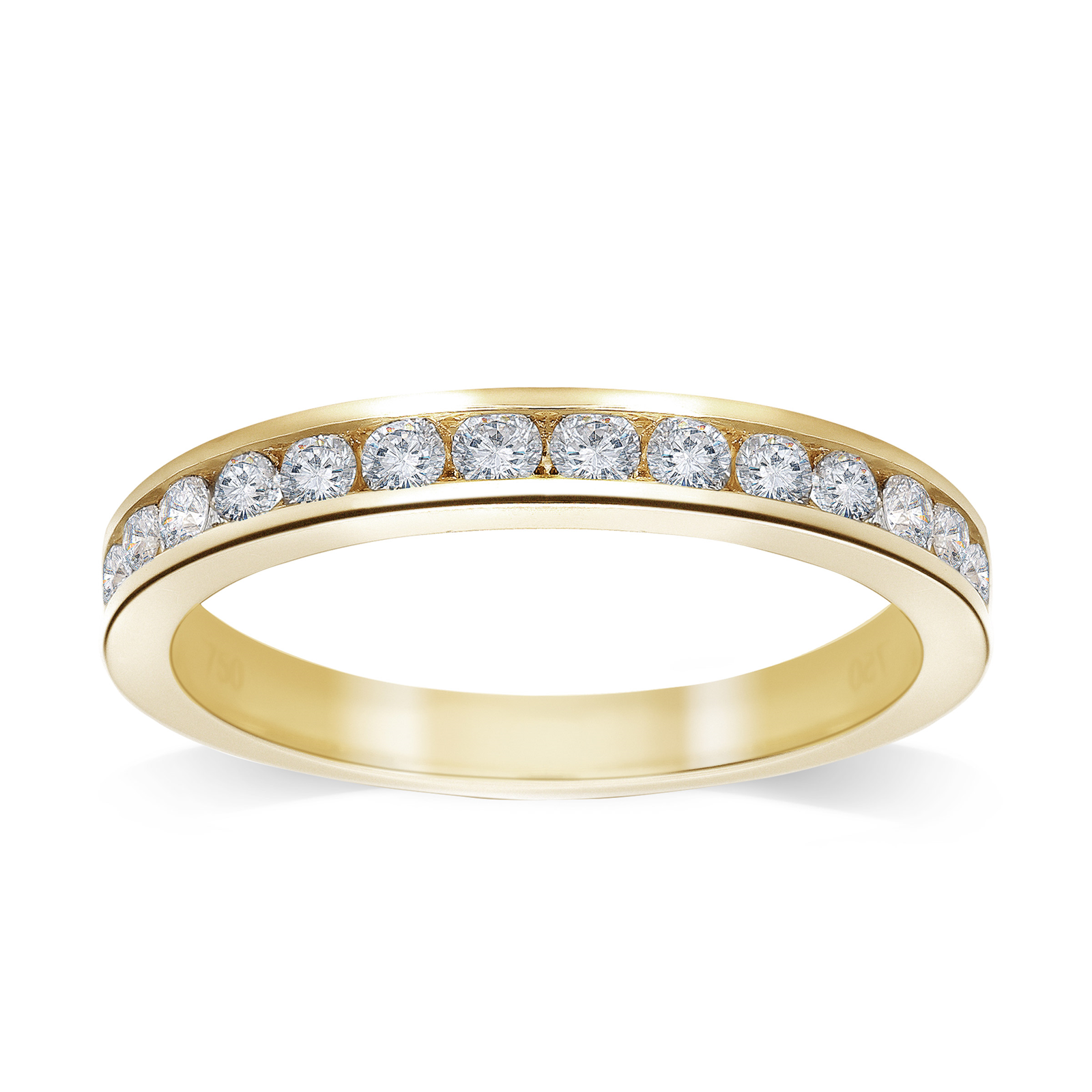 18ct Yellow Gold 0.50 Carat Brilliant Cut Half Eternity - Ring Size J