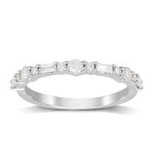 Platinum 0.50ct Brilliant & Baguette Cut Half Eternity Ring