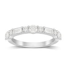 Platinum 0.90ct Brilliant & Baguette Cut Half Eternity Ring