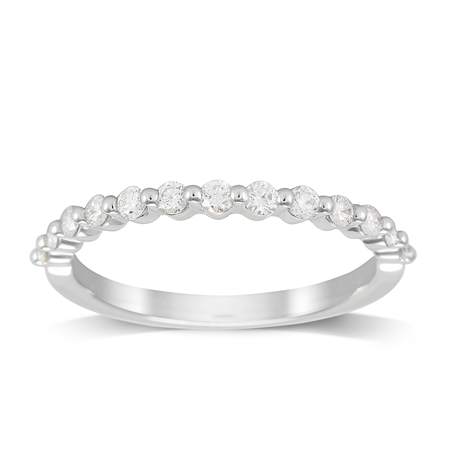 Platinum 0.33cttw Brilliant Cut Shared Claw Set Half Eternity Ring