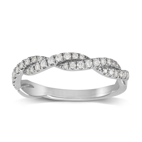 Platinum 0.30ct Round Brilliant Cut Twist Half Eternity Ring