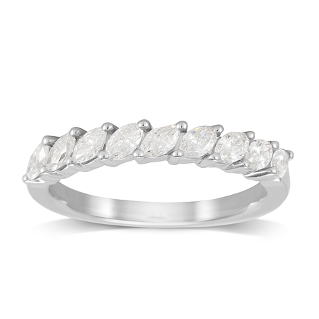 Platinum 0.66ct Claw Set Marquise Half Eternity Ring