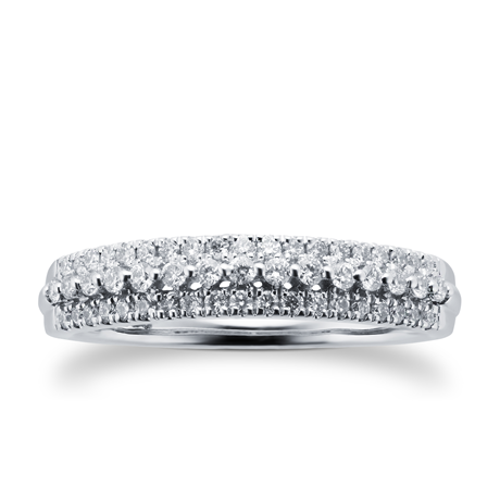 9ct White Gold 0.34ct 3 Row Eternity Ring