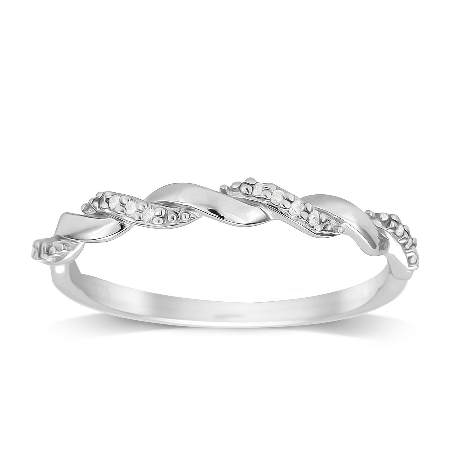 9ct White Gold 0.05ct Twist Style Diamond Ring - Ring Size J