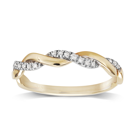 9ct Yellow Gold 0.10ct Twist Style Diamond Ring