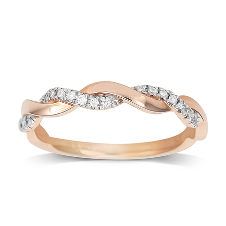 9ct Rose Gold 0.10ct Twist Eternity Ring