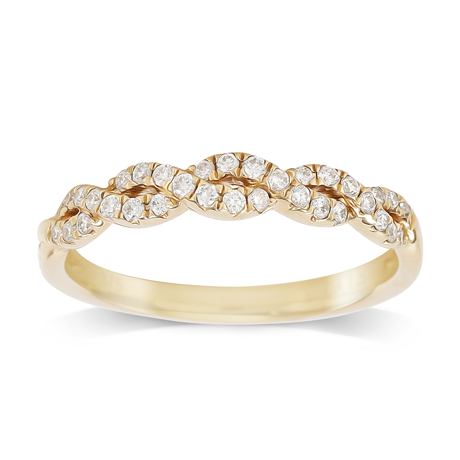 9ct Yellow Gold 0.25cttw Diamond Plait Style Eternity Ring