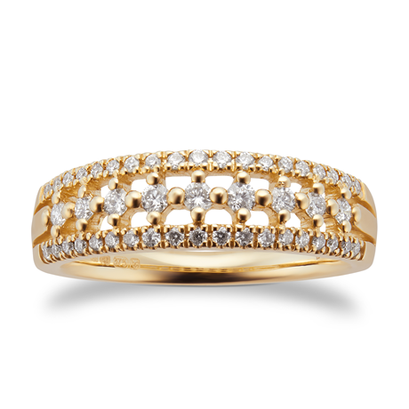 9ct Yellow Gold 0.33ct Multi Row Eternity Ring