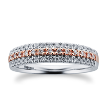 9ct White & Rose Gold 0.25ct 3 Row Eternity Ring