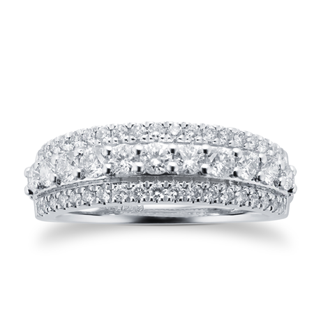 18ct White Gold 0.75cttw Diamond Multi Row Eternity Ring