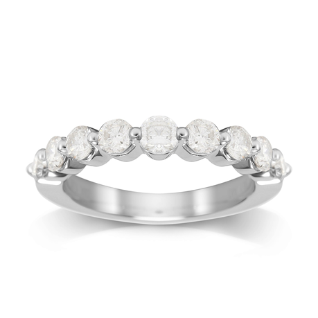 Platinum 1.00cttw Brilliant Cut Diamond Claw Set Eternity Ring
