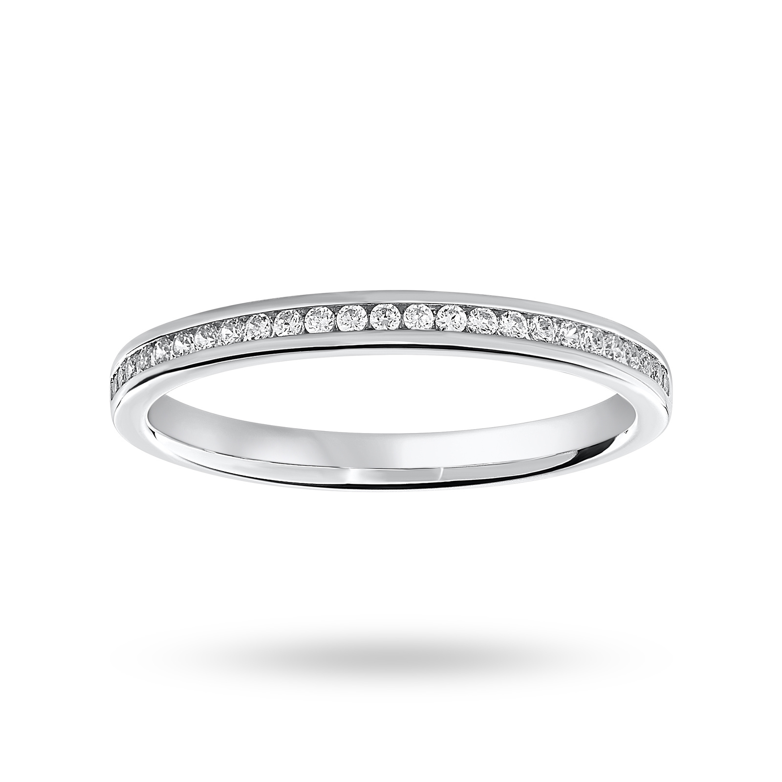 18ct White Gold 0.12ct Half Eternity Ring - Ring Size H.5