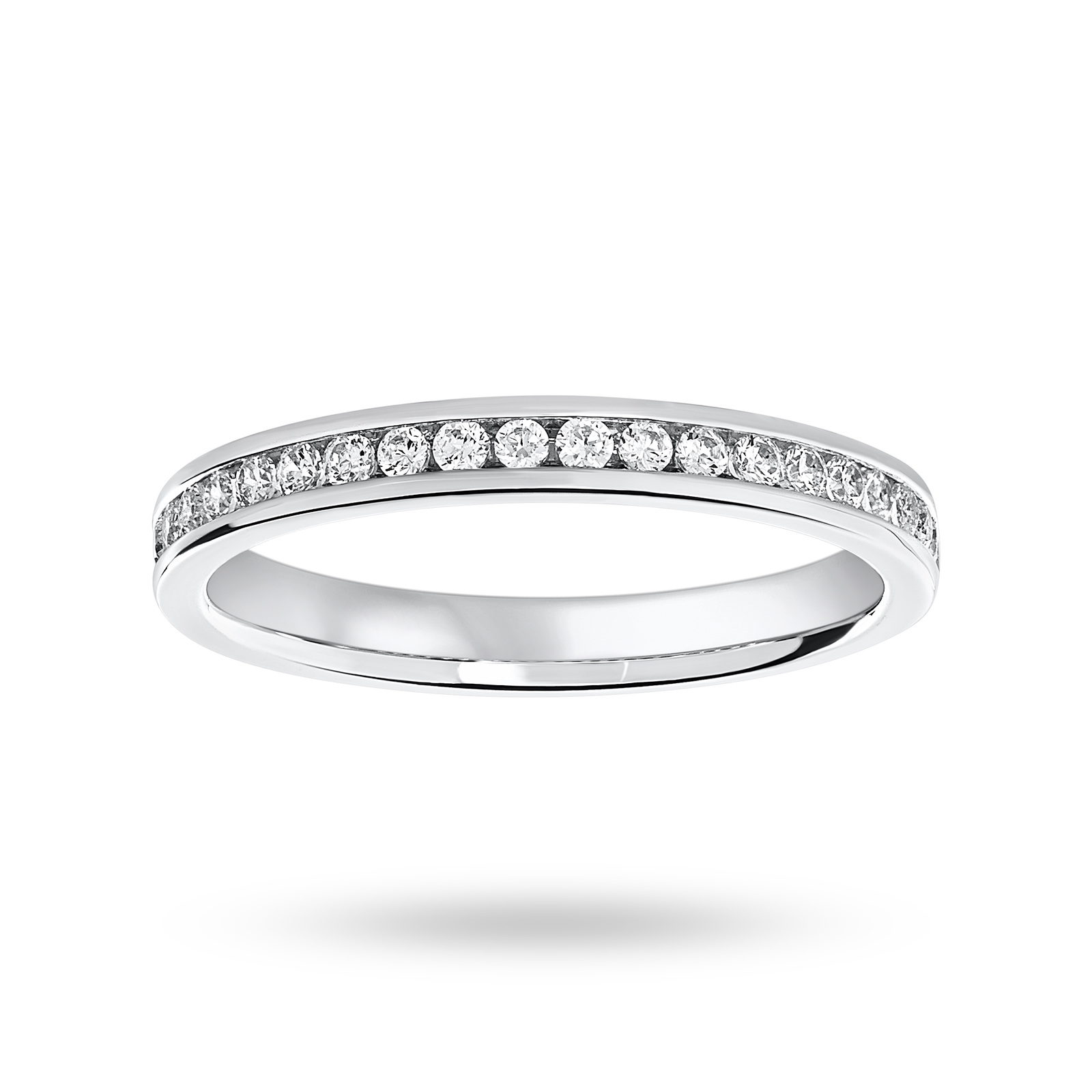 Platinum 0.25ct Half Eternity Ring - Ring Size I
