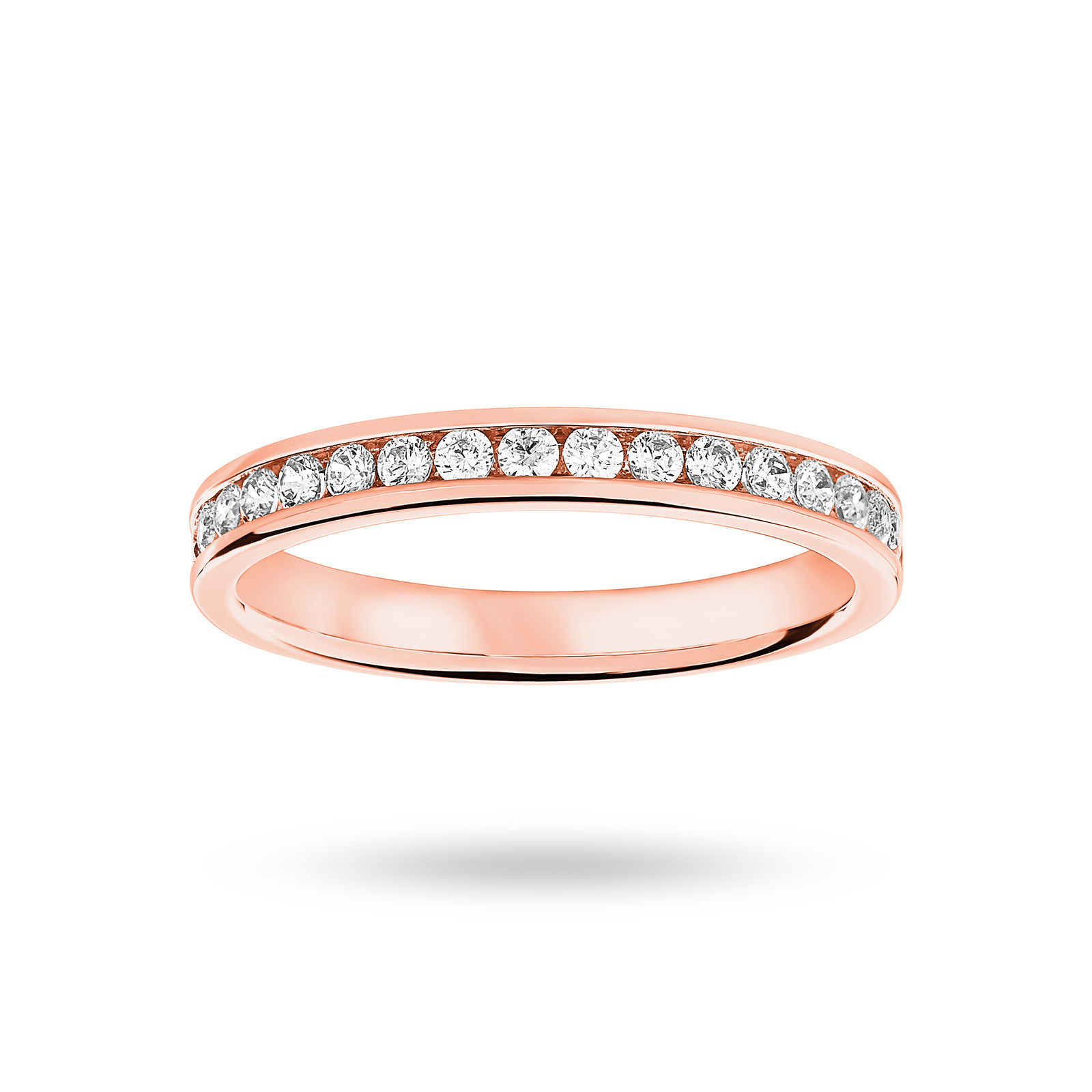 18ct Rose Gold 0.33ct Half Eternity Ring - Ring Size K