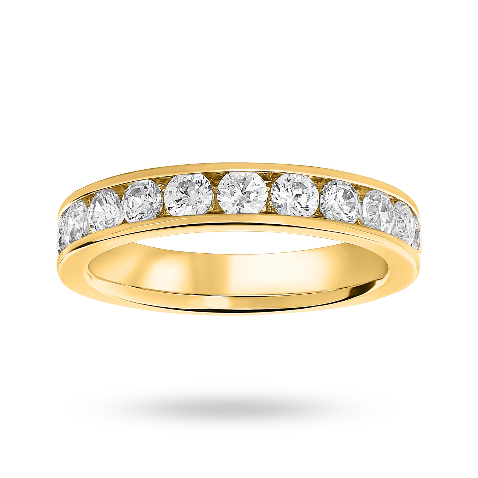 18ct Yellow Gold 1.00ct Half Eternity Ring - Ring Size O