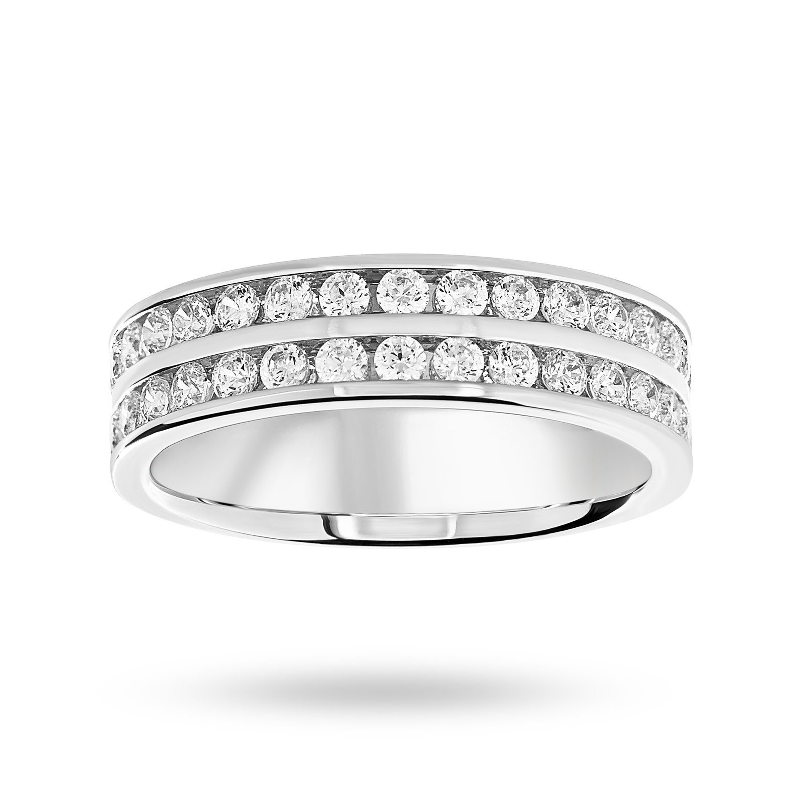 18ct White Gold 0.75ct 2 Row Half Eternity Ring - Ring Size J