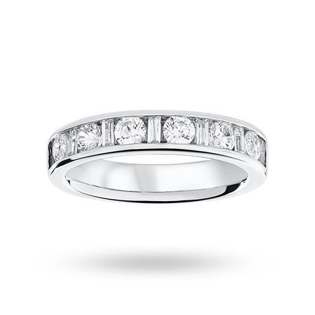 Platinum 1.00ct Dot Dash Half Eternity Ring