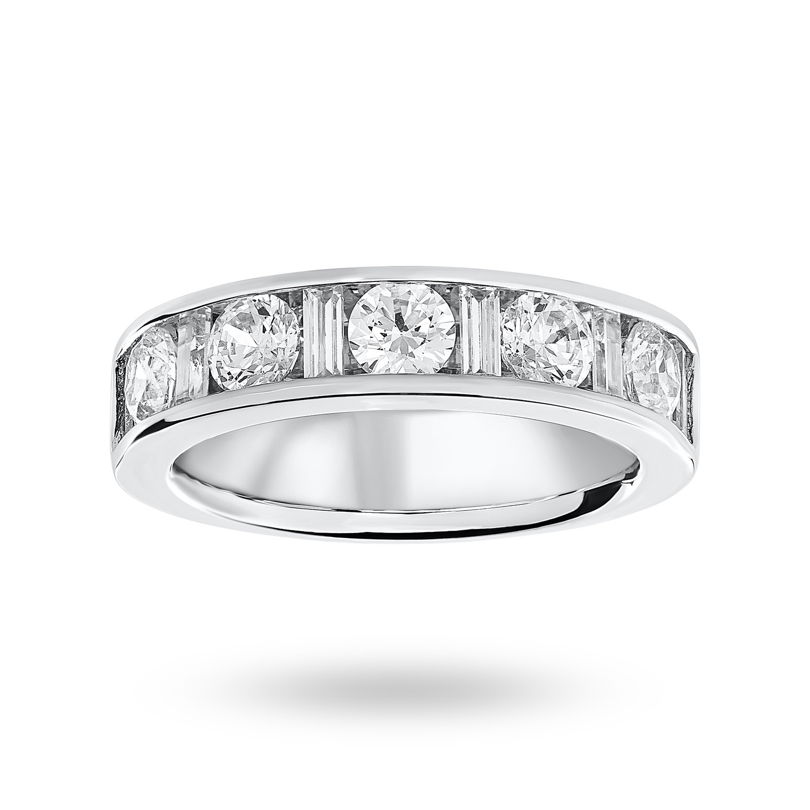 18ct White Gold 1.45ct Dot Dash Half Eternity Ring - Ring Size O