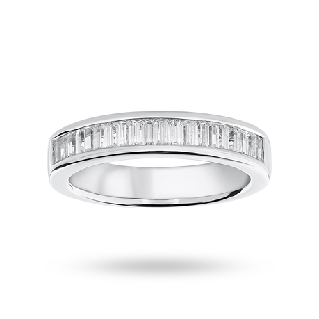 Platinum 0.75ct Baguette Cut Half Eternity Ring