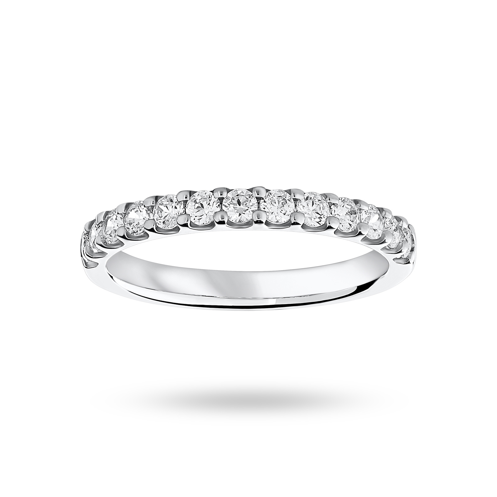 Platinum 0.50ct Brilliant Cut Half Eternity - Ring Size J