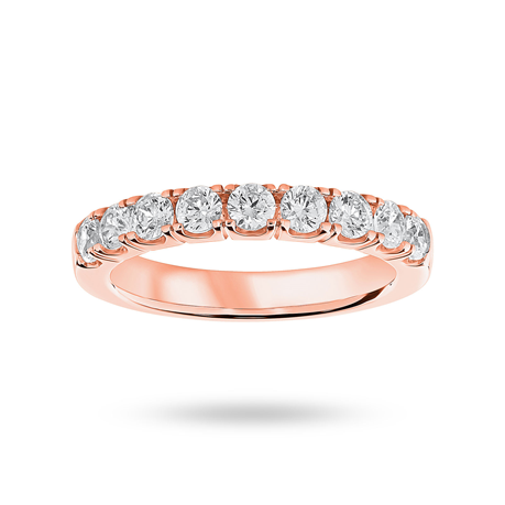 9ct Rose Gold 0.75ct Brilliant Cut Half Eternity