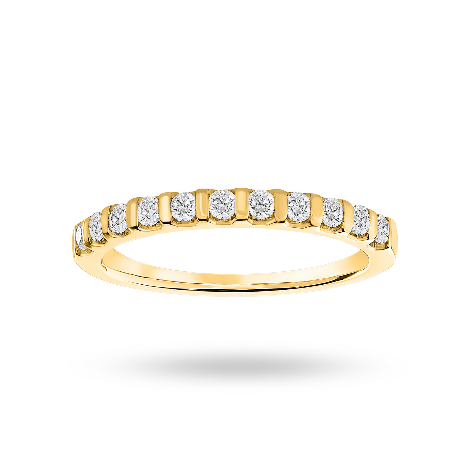 9ct Yellow Gold 0.30ct Brilliant Cut Half Eternity Ring - Ring Size L