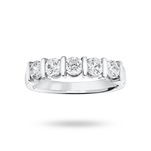 Platinum 0.90ct Brilliant Cut Half Eternity Ring