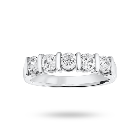 9ct White Gold 0.90ct Brilliant Cut Half Eternity Ring