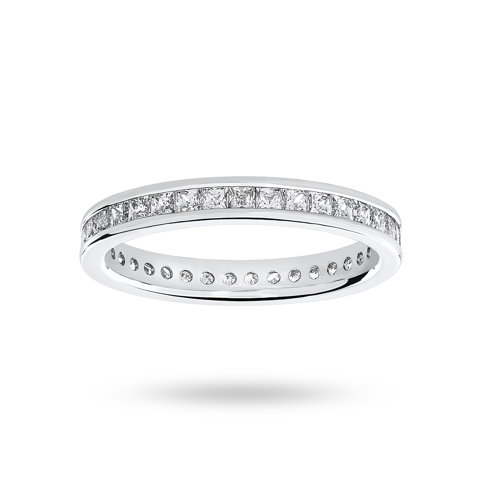 18ct White Gold 1.00ct Princess Cut Full Eternity Ring - Ring Size K