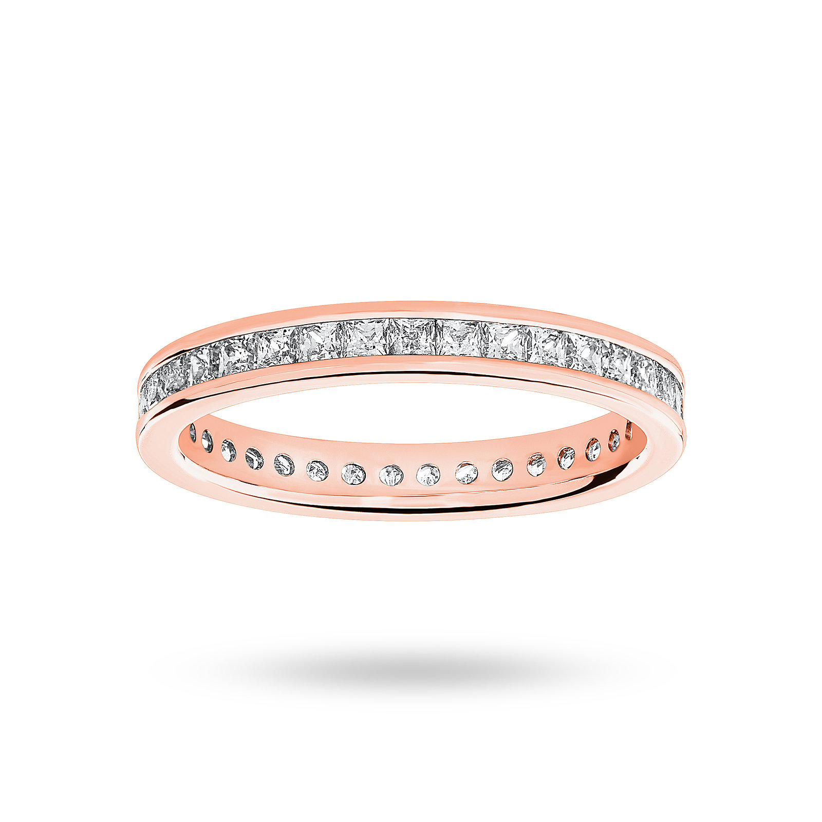 9ct Rose Gold 1.00ct Princess Cut Full Eternity Ring - Ring Size L