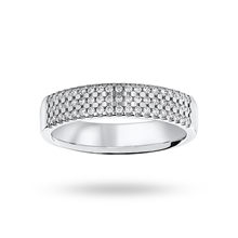 18ct White Gold 0.29ct 3 Row Half Eternity Ring