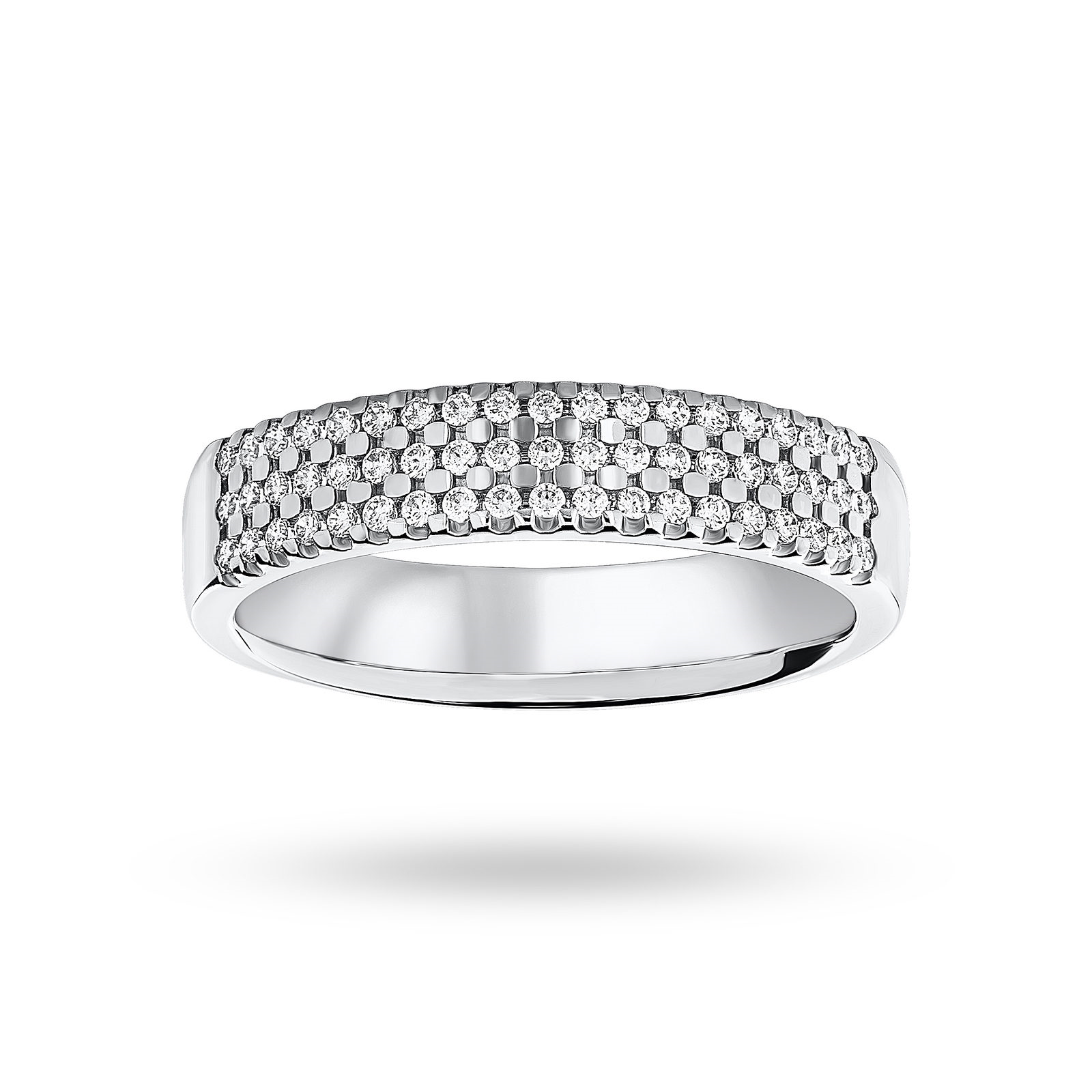 18ct White Gold 0.29ct 3 Row Half Eternity Ring - Ring Size J