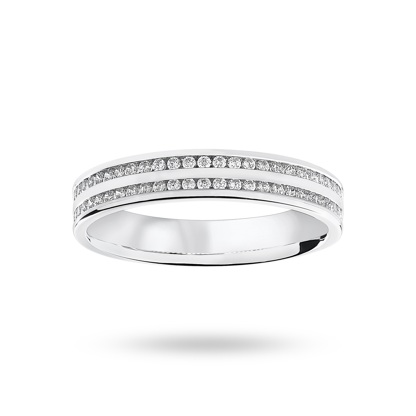 18ct White Gold 0.28ct 2 Row Half Eternity Ring - Ring Size L