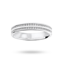 9ct White Gold 0.28ct 2 Row Half Eternity Ring