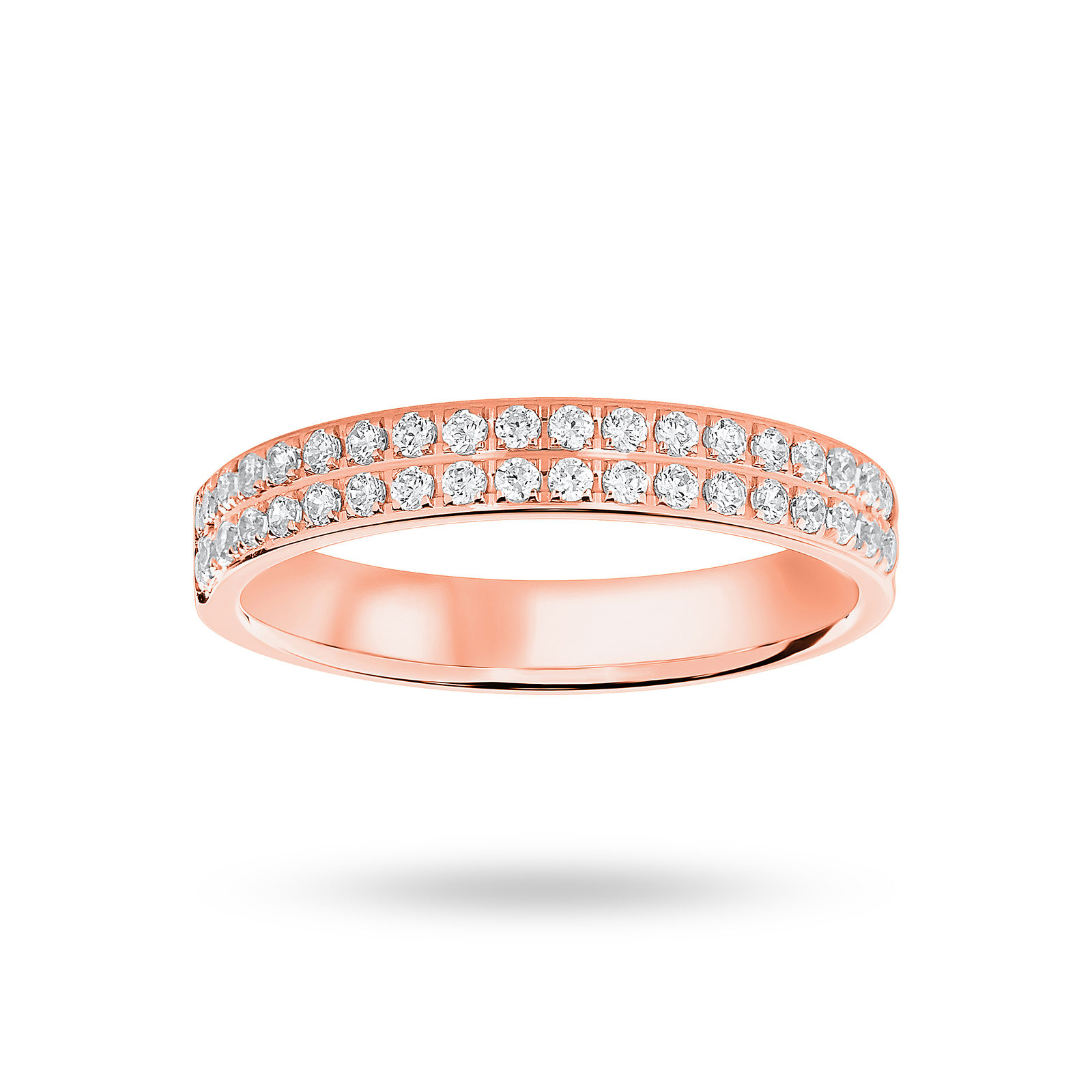 9ct Rose Gold 0.25ct 2 Row Half Eternity Ring - Ring Size K