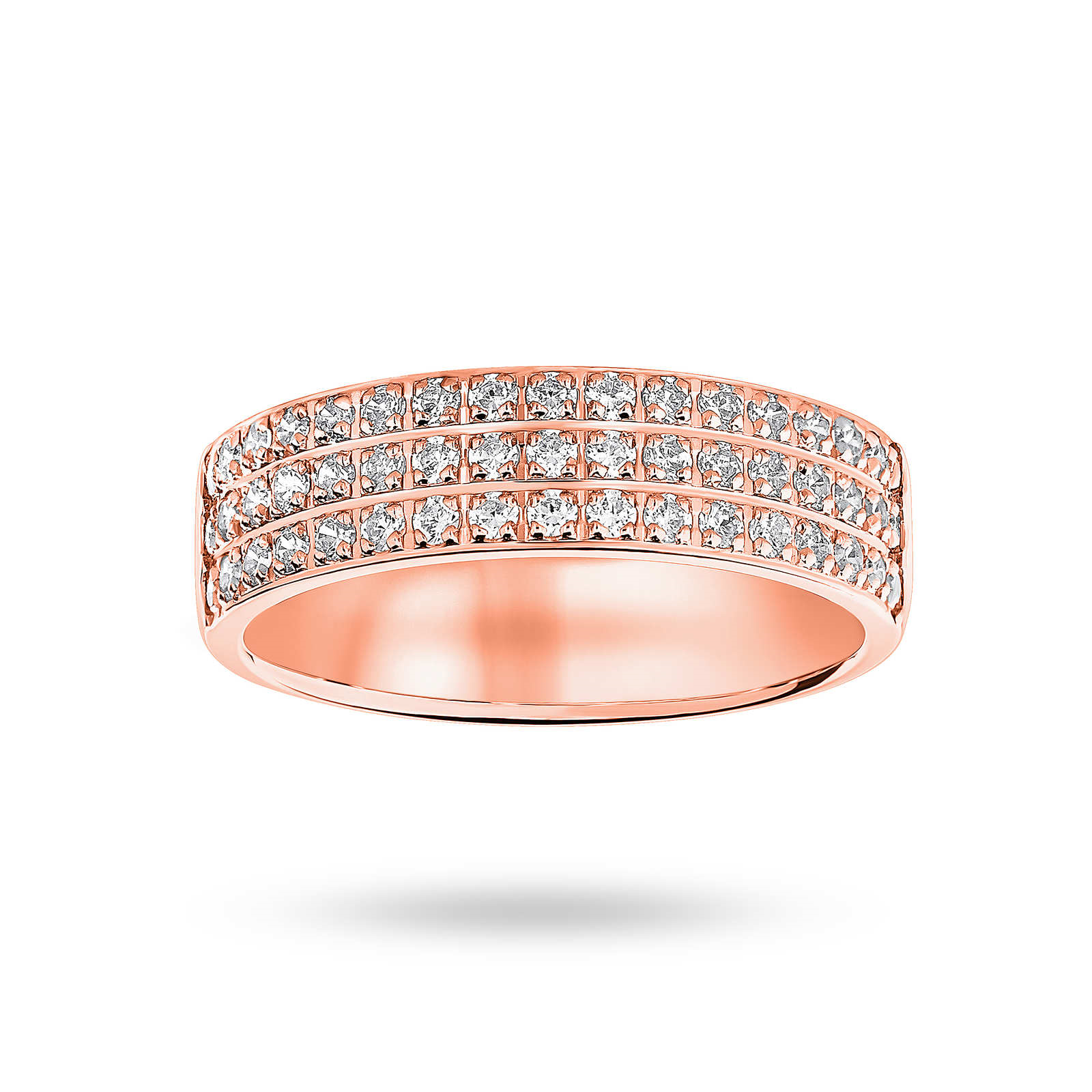 18ct Rose Gold 0.50ct 3 Row Half Eternity Ring - Ring Size L