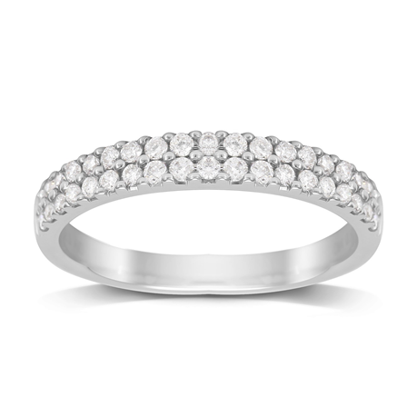18ct White Gold 0.50ct Diamond 2 Row Eternity Ring