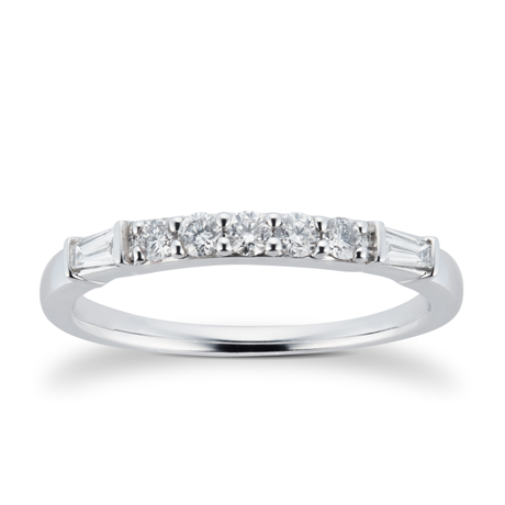 18ct White Gold 0.33cttw Claw Set Round & Baguette Cut Eternity Ring