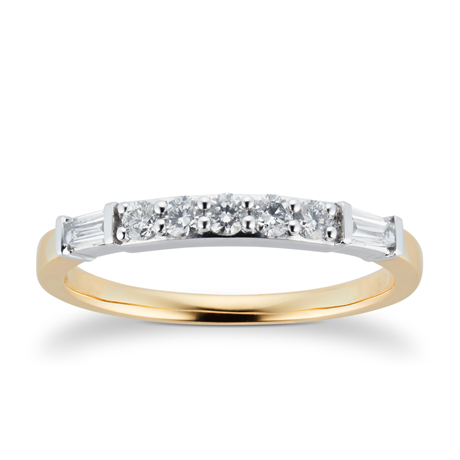18ct Yellow Gold 0.33cttw Claw Set Round & Baguette Cut Eternity Ring