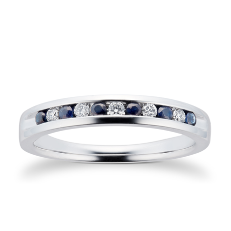 Brilliant Cut Sapphire and Diamond Eternity Ring in 18 Carat White Gold