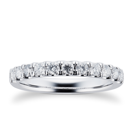 18ct White Gold 0.50cttw Brilliant Cut Claw Set Half Eternity Ring