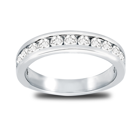 Platinum 0.80cttw Diamond Channel Set Eternity Ring