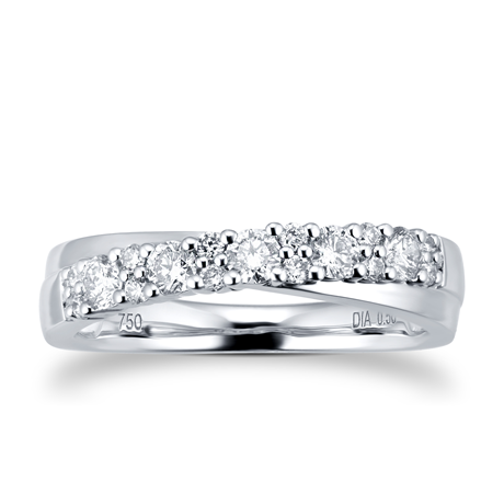 18ct White Gold 0.50cttw Single Cross Over Eternity Ring
